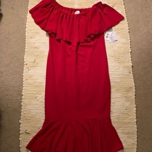 LulaRoe Cherry Red Cici Flounce Sheath Dress